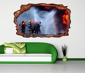3d Wandtattoo Feuerwehr Feuer Flammen Sticker Wohnzimmer Wand
