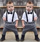 Baby Boy Gentleman Tuxedo Dress Shirts Bow Tie Overall 2Pcs Formal Wear Suit