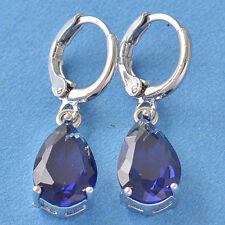 New 9K White Gold Filled Blue Sapphire CZ Pear Shape Tear Drop Dangle Earrings