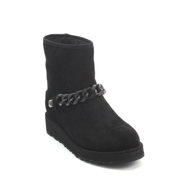 Gianni Renzi Couture 1084b Black Suede Sheepskin Ankle Boots 38 / US 8
