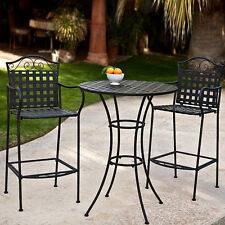 Wrought Iron Bistro Set Outdoor Bar Height Patio Dining Table Chairs Deck  Furnit