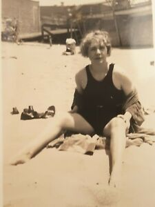 Vintage-1920s-Pretty-Woman-in-Swimsuit-at-the-Beach-Original-Snapshot-Photo