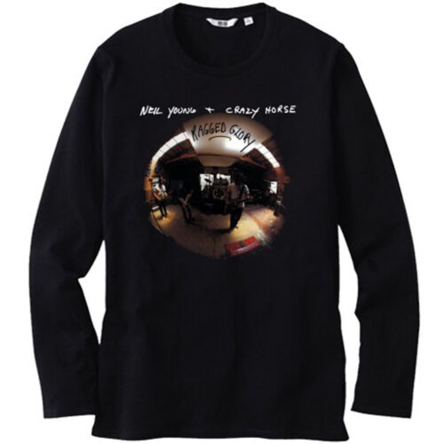 NEIL YOUNG CRAZY HORSE *Ragged Glory Men/'s Long Sleeve Black T-Shirt Size S-3XL