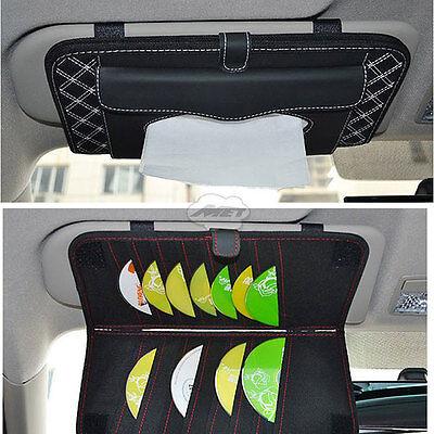 Car Accessories Sun Visor CD Folder  + Tissue Box Holder Paper Napkin White