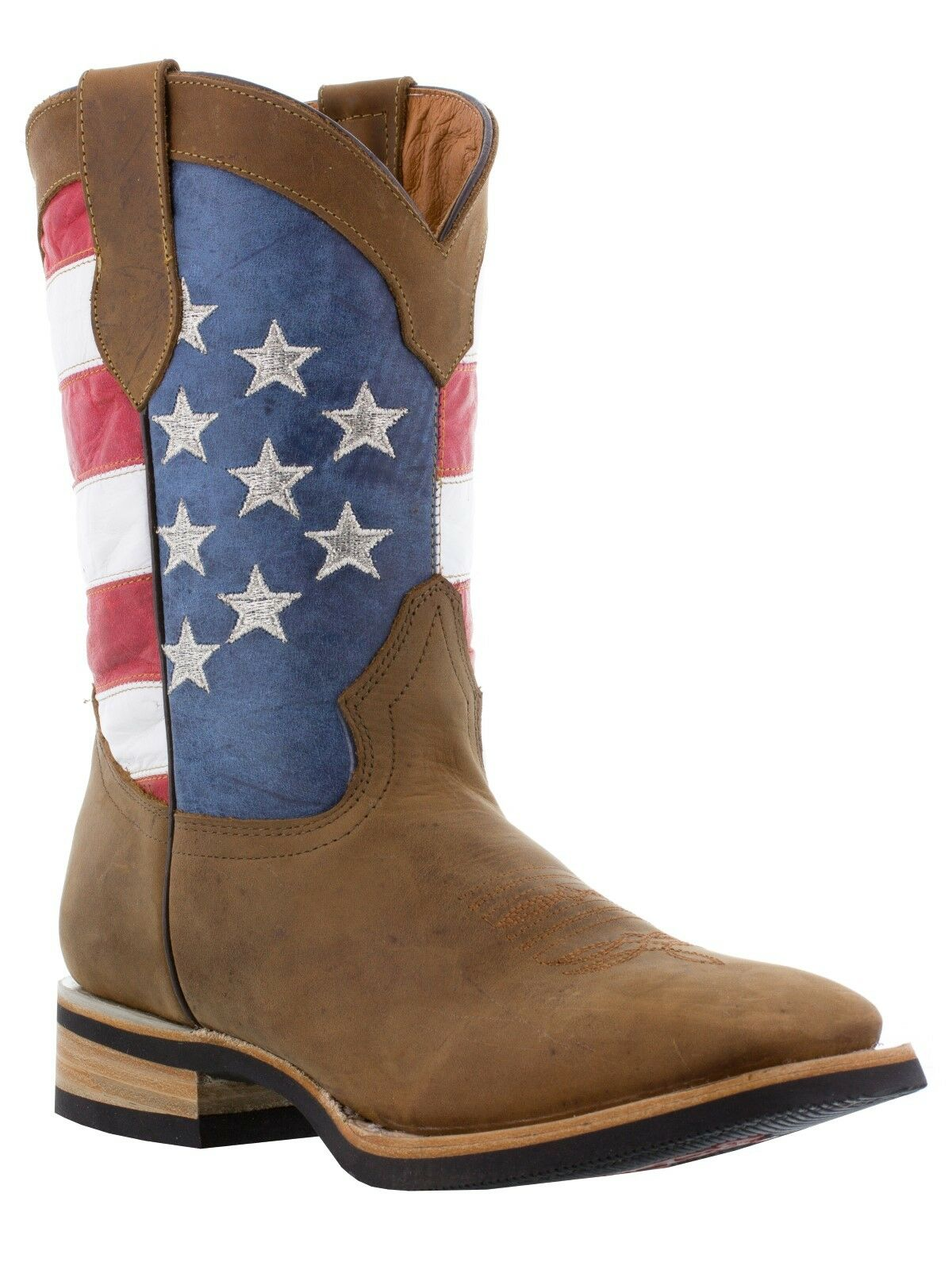 b592b487181 brown Mens rodeo vintage handmade toe square flag american boots ...