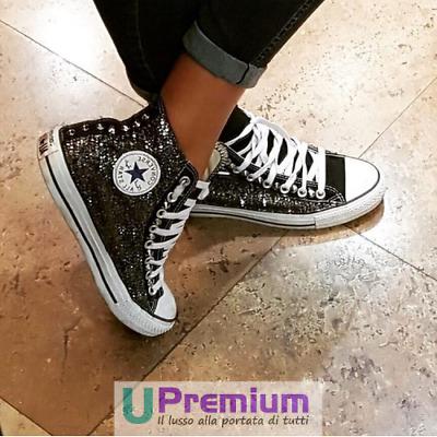 Converse All Star Nere Glitter Borchie Argento [Prodotto Personalizzato] Scarpe | eBay