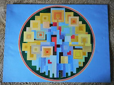 100% Waar Peinture Sur Toile Xxéme/abstraction Sur Fond Bleu /signÉe Luci Hughe /60x80 Cm