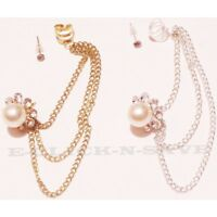 12 Pairs Wholesale Lot Jewelry Cuff Earrings With Chain-assorted Colors