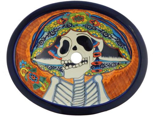 Mexican Bathroom Talavera Sink Handmade Ceramic Catrina Day of the Dead  # 206