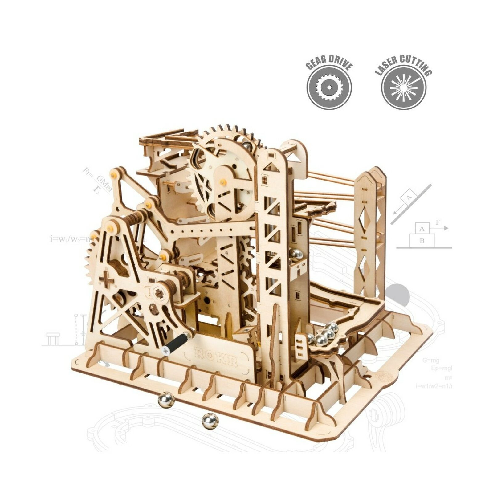 ROKR 3D Assembly Wooden Puzzle Brain Teaser Game Mechanical