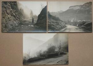 CréAtif 3 Photos Anciennes - Elargissement Route Annemasse Sixt -1929 / 30 Haute Savoie Sans Retour