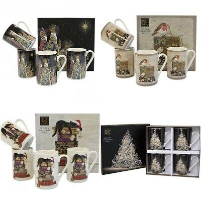 Set 4 China Christmas Bug Art Mugs Boxed 4 Designs Cat Kings Tree Robin Gift