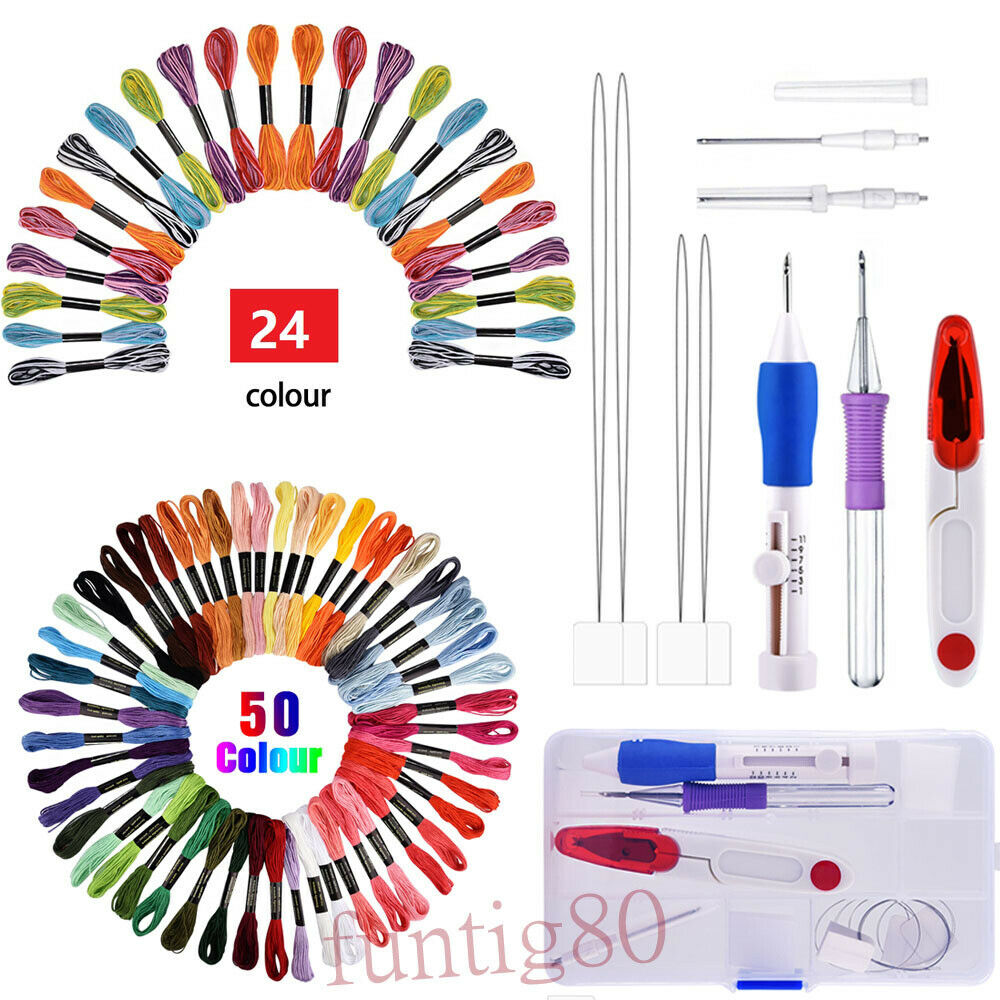 Jialili 【US Stock】 Magic Embroidery Pen Punch Needles Blue Magic Embroidery Pen Set Punch Embroidery Needle for Embroidery Threaders DIY Sewing
