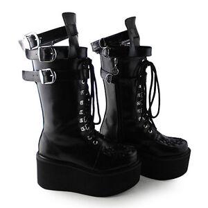 Harajuku Schwarz Punk Gothic Damen Stiefel Schuhe Stiefeletten