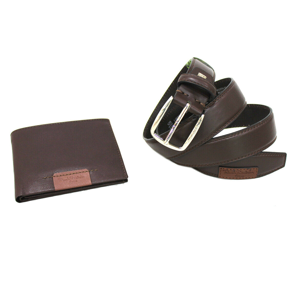 Men's set faux leather belt 35 mm high size 125 and leather wallet in box brown