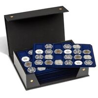 Us Silver Morgan Coin Box Folder Lighthouse Tablo Storage Case W/ 10 Trays Free