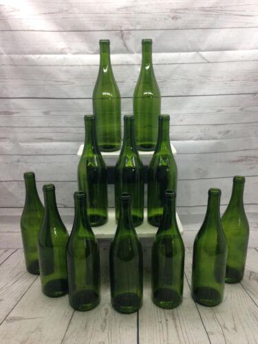 12 Green Burgundy 750 ml Glass Bottles Stretch Neck Bottle Tree Decor wine beer