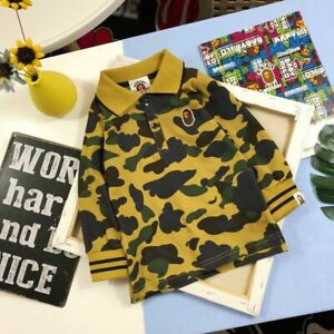 2019 A Bathing Ape Kids Boy Girl Baby Milo Strap Design Bape Long Sleeve Shirt