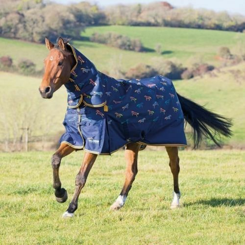 SHIRES HIGHLANDER 200G COMBO TURNOUT RUG, HORSE PRINT  7FT  new with tags