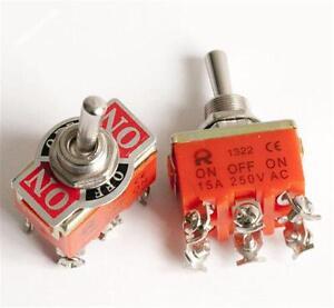6-poliger-DPDT-EIN-AUS-EIN-Schalter-15A-250V-Minischalter