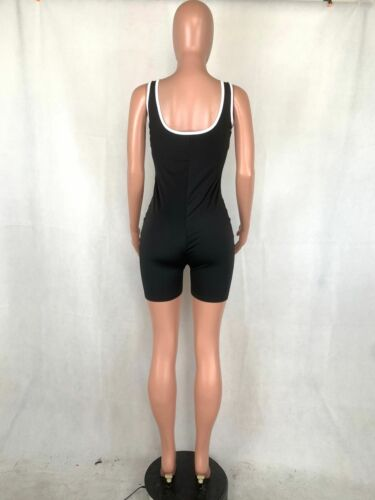 New Stylish Women Sleeveless Lowcut Patchwork Bodycon Sporty Jumpsuit Romper