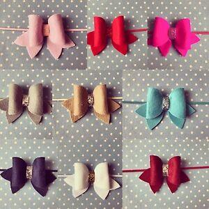 Handmade-Felt-Bow-Glitter-Baby-Headband-Skinny-Elastic-Newborn-Infant-Kids-Lot