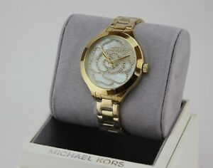 Details about NEW AUTHENTIC MICHAEL KORS SLIM RUNWAY GOLD MOP CRYSTALS WOMEN'S MK3992 WATCH