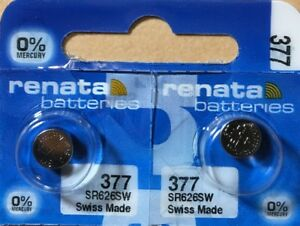 2-Renata 377 Battery SR626SW  Silver Oxide. Authorized Seller. Expiration 07/21