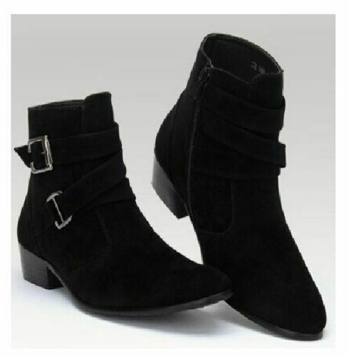 NEW-MENS HANDMADE ANKLE HIGH POINTED TOE SUEDE LEATHER HUNTER JODHPURS Stiefel