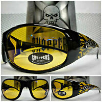Motorcycle Biker Day Night Riding Choppers Sun Glasses Yellow Lens & Flames
