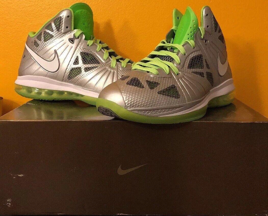 Nike lebron 8 dunkman argento metallico elettricità verde sz 11 (441946-002)