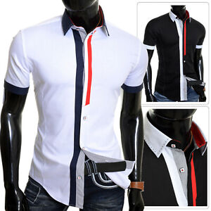 c59caa660e3 Image is loading Mens-Short-Sleeve-Shirt-Classic-Collar-Summer-Smart-