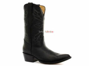 Real Toe Dallas Western Cowboy Womens Grinders Boots Boot Leather Mid Calf Black wvctc5qF