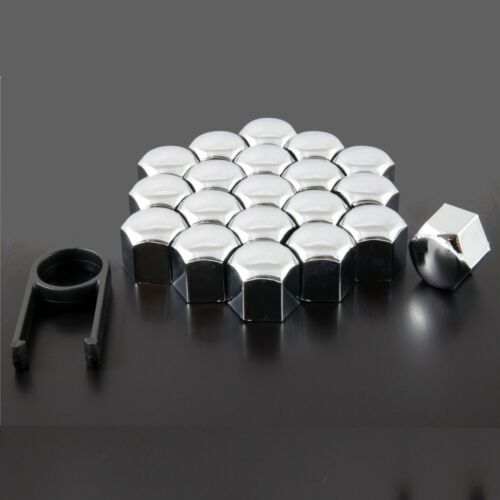 20 CHROME CAR ALLOY WHEEL NUTS BOLTS CUP COVERS 19 mm UNIVERSAL SET FOR AUDI