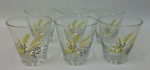 6-Vintage-Century-Autumn-Gold-Wheat-Pattern-Old-Fashioned-Barware-Glasses