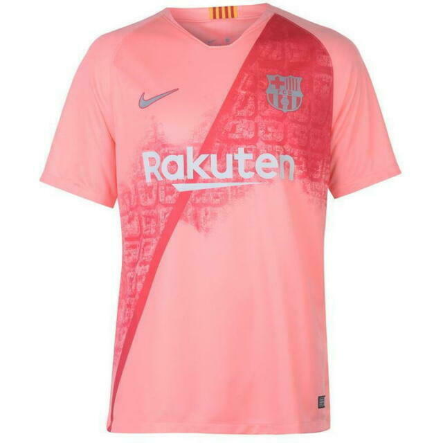 nike fc barcelona 3rd kit salmon orange soccer jersey 2018 19 size l for sale online ebay nike fc barcelona 3rd kit salmon orange soccer jersey 2018 19 size l