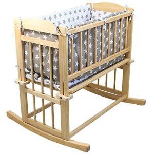 Monsieur-Bebe-Babywiege-40x80-cm-mit-Bettumrandung-Bettwaesche-auch-als-Rollbett