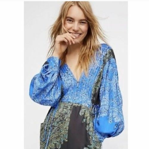 Free People bluee Green Blooming Fields Paisley Oversized Long Sleeve Jumpsuit XS