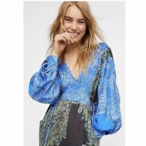 Paisley oversize Blooming Green People manica Blue lunga Tuta Free Fields Xs xq4XRzw