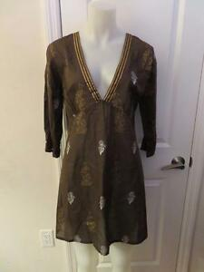 49fe7d2209dcb WOMENS PEPPERMINT BAY BROWN,GOLD,SILVER FLORAL V-NECK 3/4 SLEEVE ...