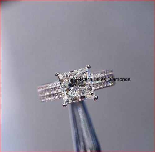Details about  /3Ct Princess Cut Wedding Diamond Engagement Ring Solid 14K White Gold