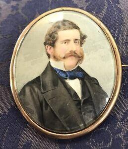 Superb-Large-Gold-Framed-Antique-Miniature-Portrait-Locket-Brooch