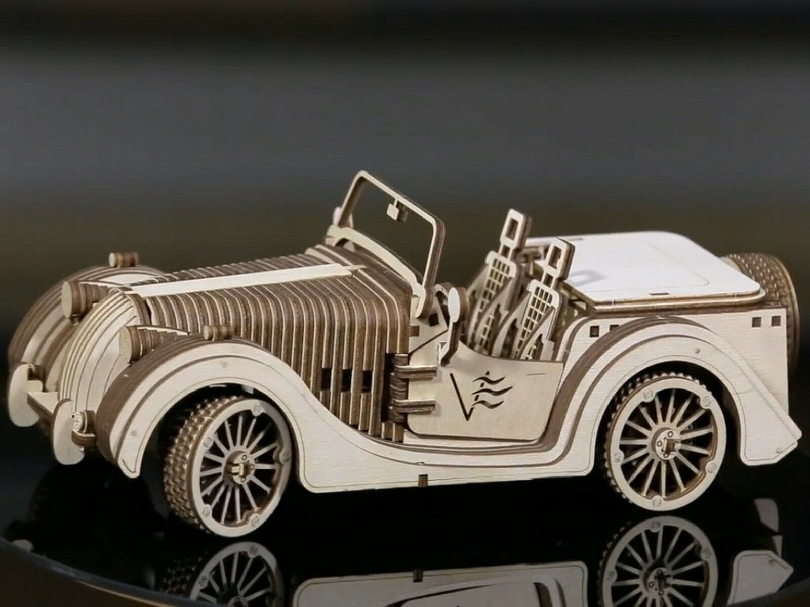 Roadster Model Classic Car 3D Wood Puzzle DIY Mechanical Toy Assembly Gears Kit