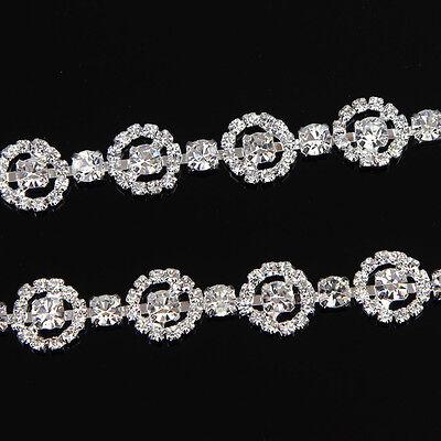 1yd Silver Gold Glass Rhinestone Close Chain Clear Trim Sewing Craft Applique