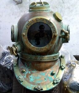 Antique Diving Divers Helmet solid Steel Old style Nautical Rare Vintage Helmet