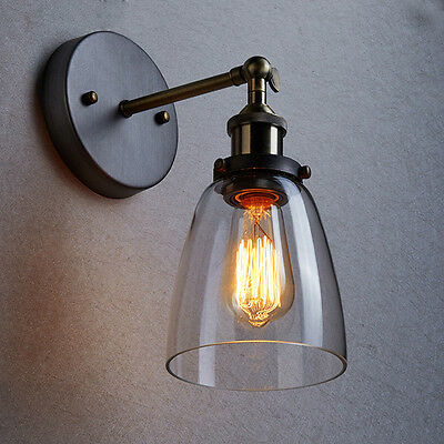 MODERN VINTAGE INDUSTRIAL LOFT METAL GLASS RUSTIC SCONCE WALL LIGHT WALL LAMP