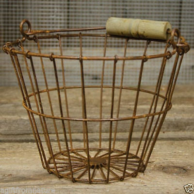 New Primitive Country Rusty Chicken Wire Egg Basket  Metal With Wood Handle