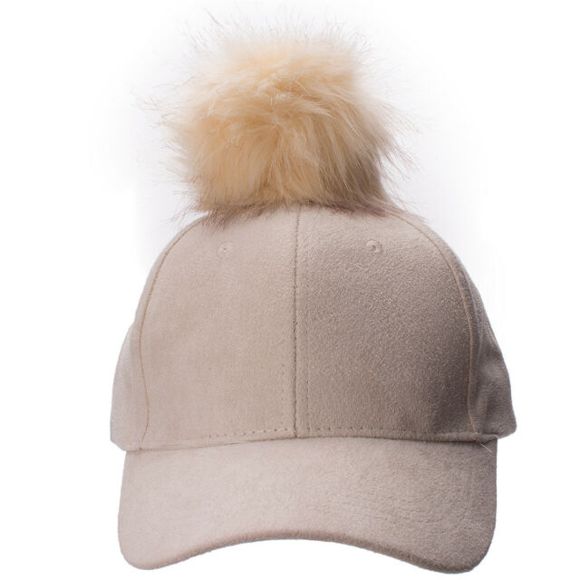 Beige Womens Adjustable Suede Baseball Cap Hip-Hop Hat Faux Fur Pom Pom A383 8ce6f564cca9