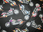 HOG HARLEY MOTORCYCLES CHOPPER FLAME COTTON FABRIC FQ