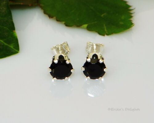 Genuine Black Onyx Round Sterling Silver Earrings Choose your Size
